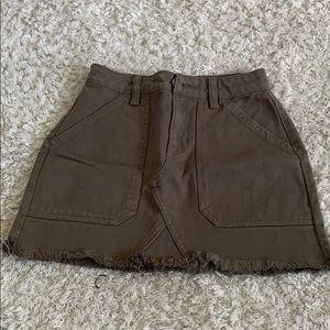A green jean skirt